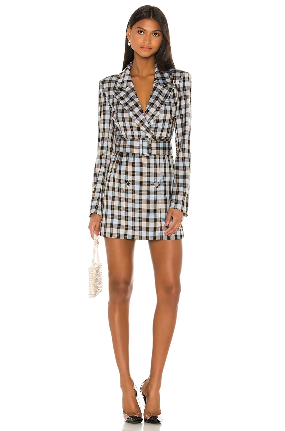 Lovers + Friends Lucinda Blazer Dress in Blue Plaid