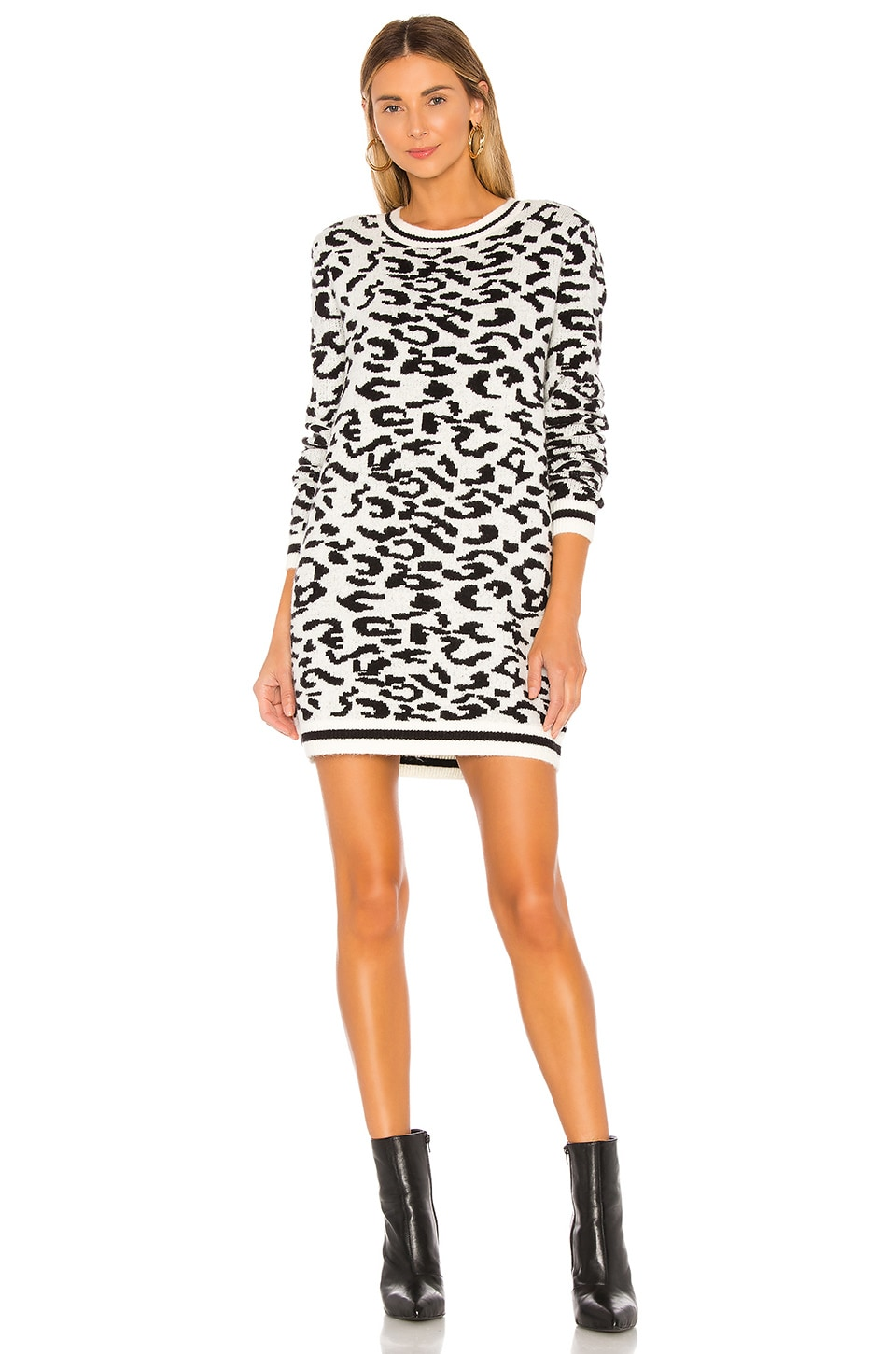 Lovers + Friends Closing In Sweater Dress in Snow Leopard