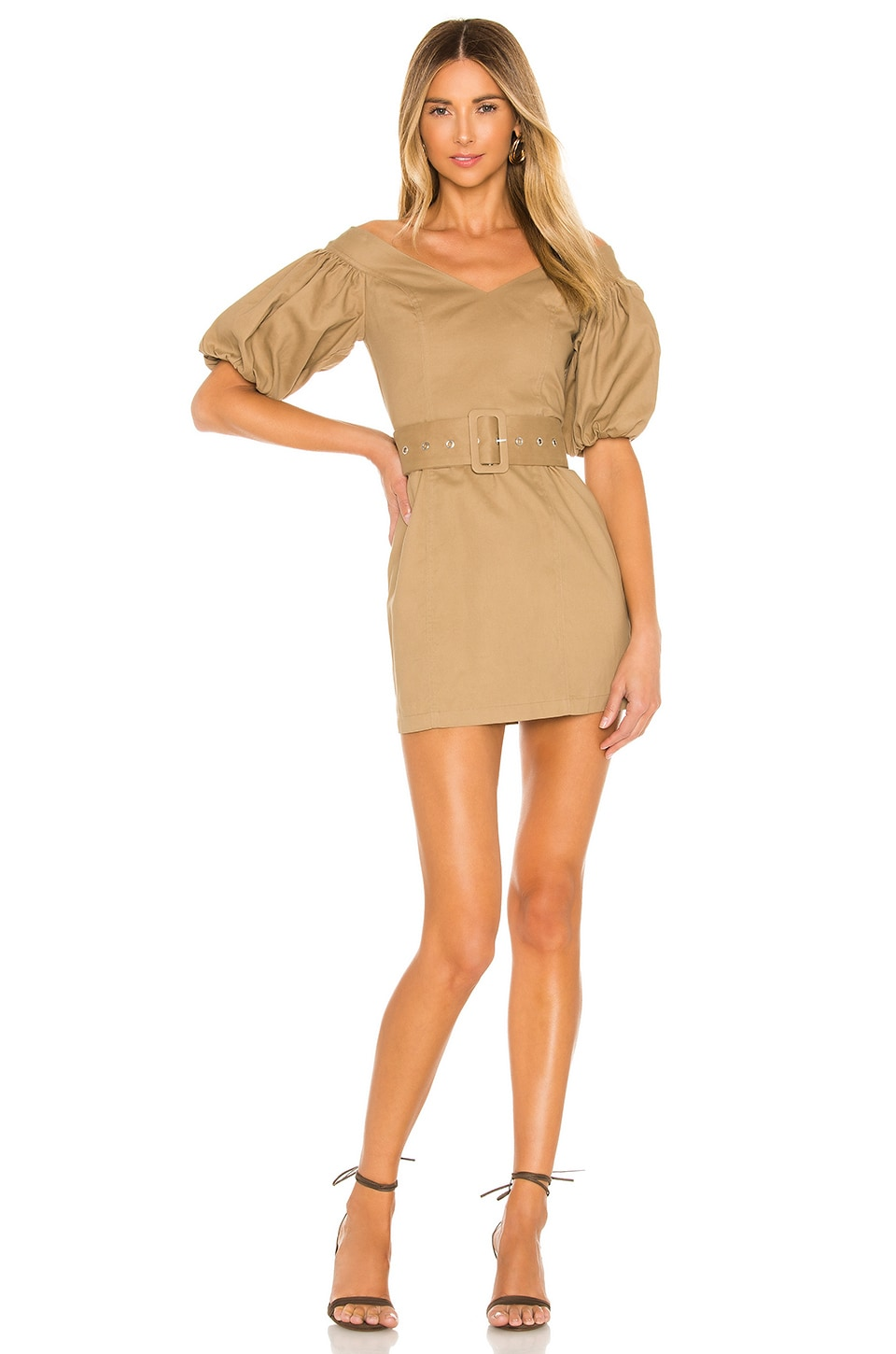 Lovers + Friends Rexford Mini Dress in Khaki Brown