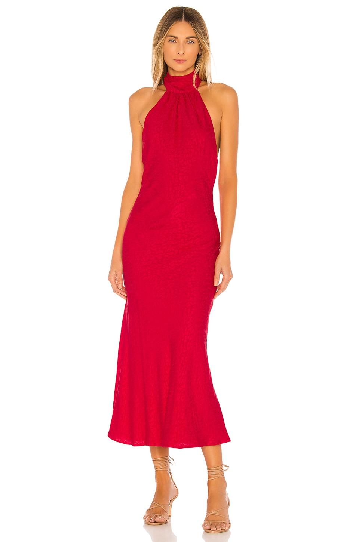 Lovers + Friends Corey Midi Dress in Leopard Red