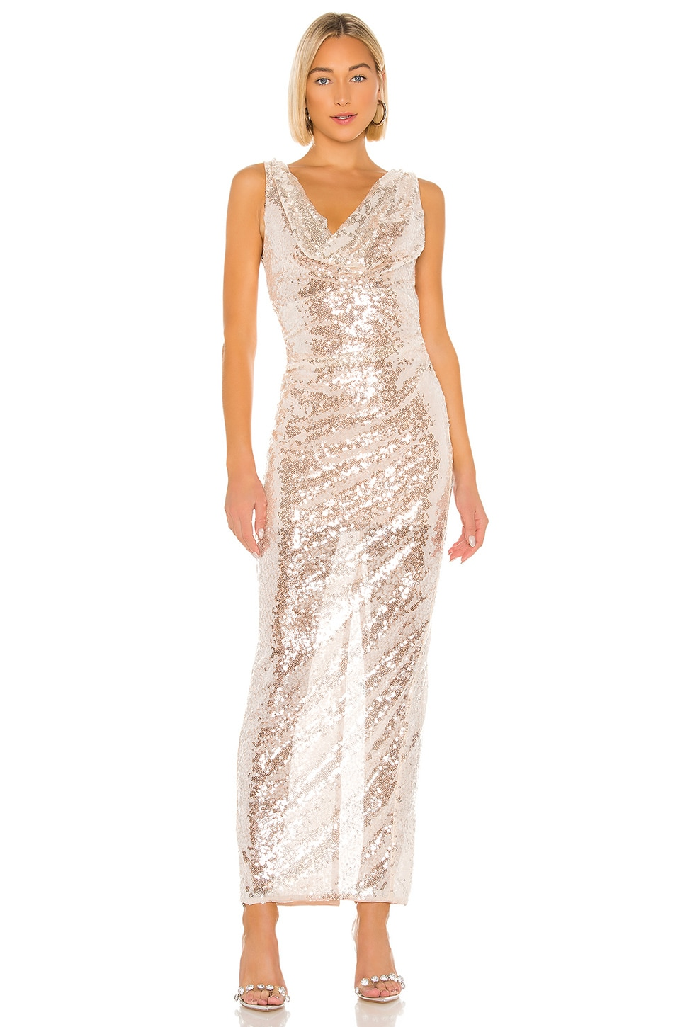 Lovers + Friends Nava Sequin Gown in Sheer Pink
