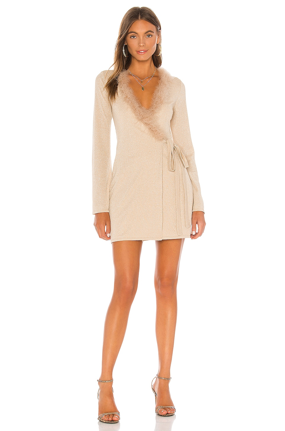 Lovers + Friends Florence Mini Dress in Nude Shimmer