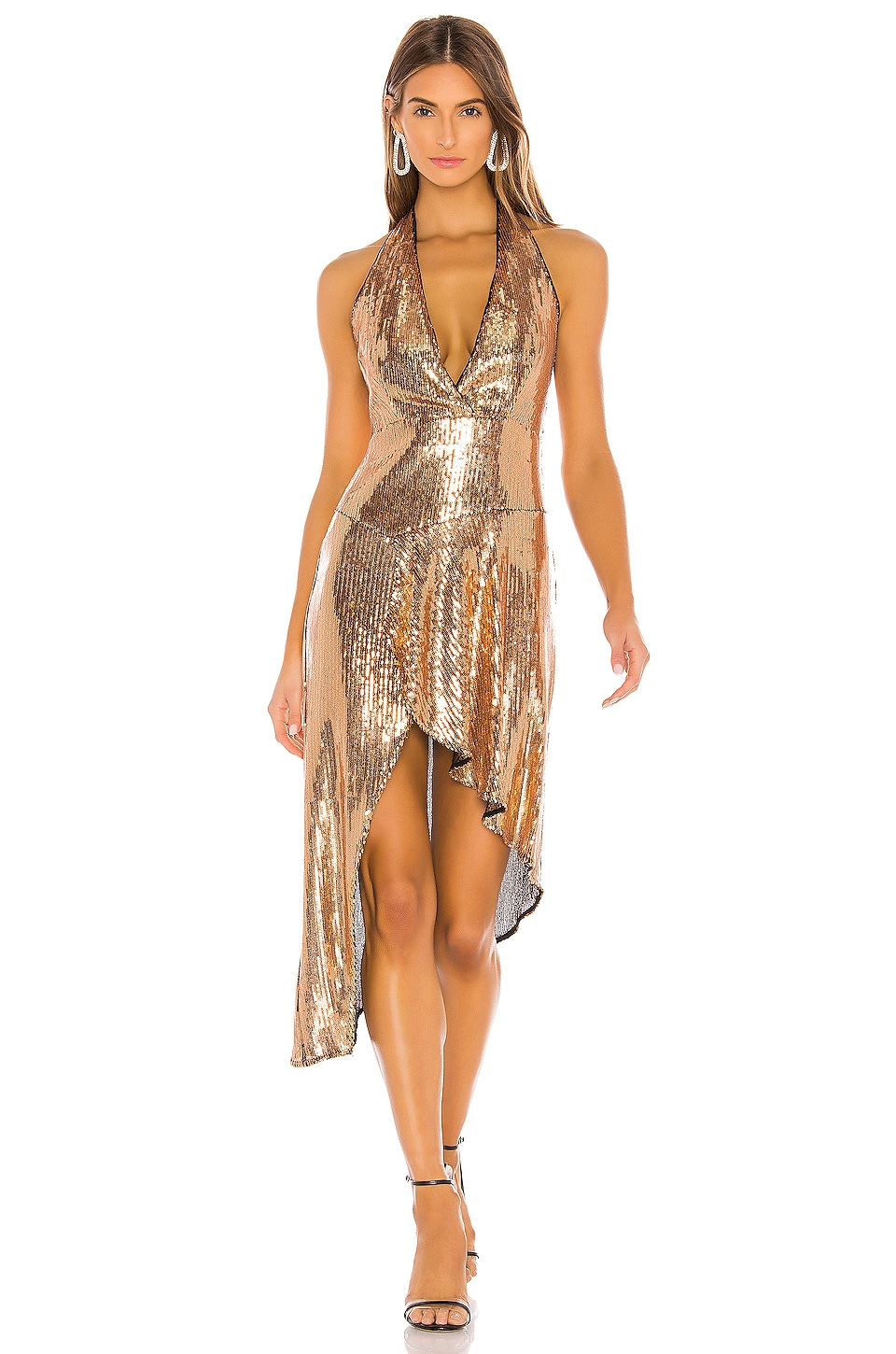 Lovers + Friends Duchess Sequin Midi in Gold