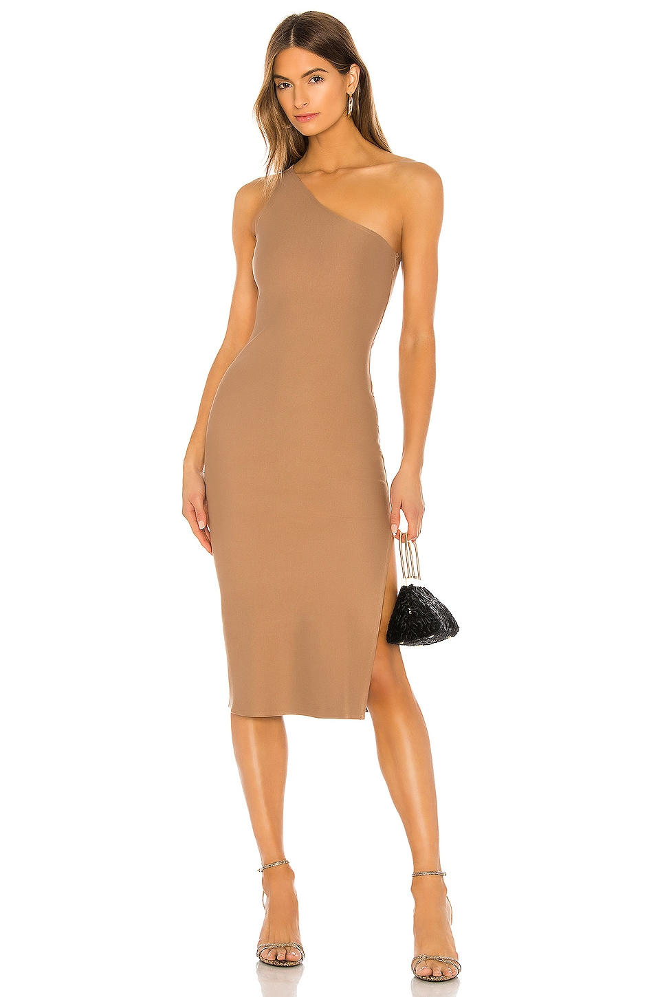 Lovers + Friends Jackie Midi Dress in Taupe Brown