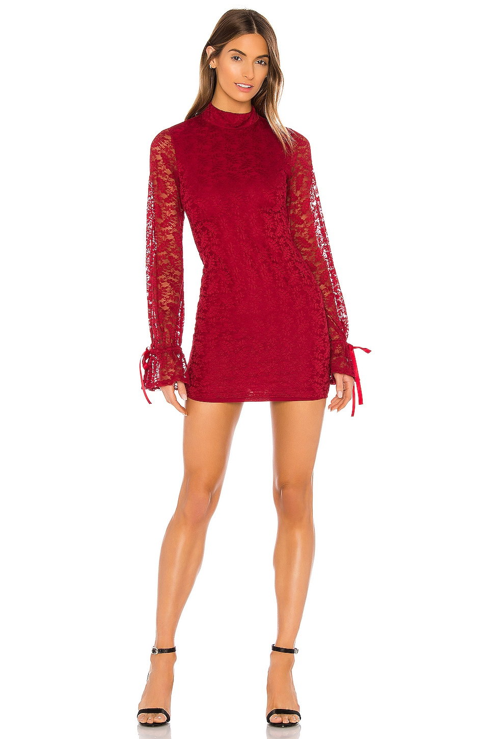 Lovers + Friends Talia Mini Dress in Ruby Red
