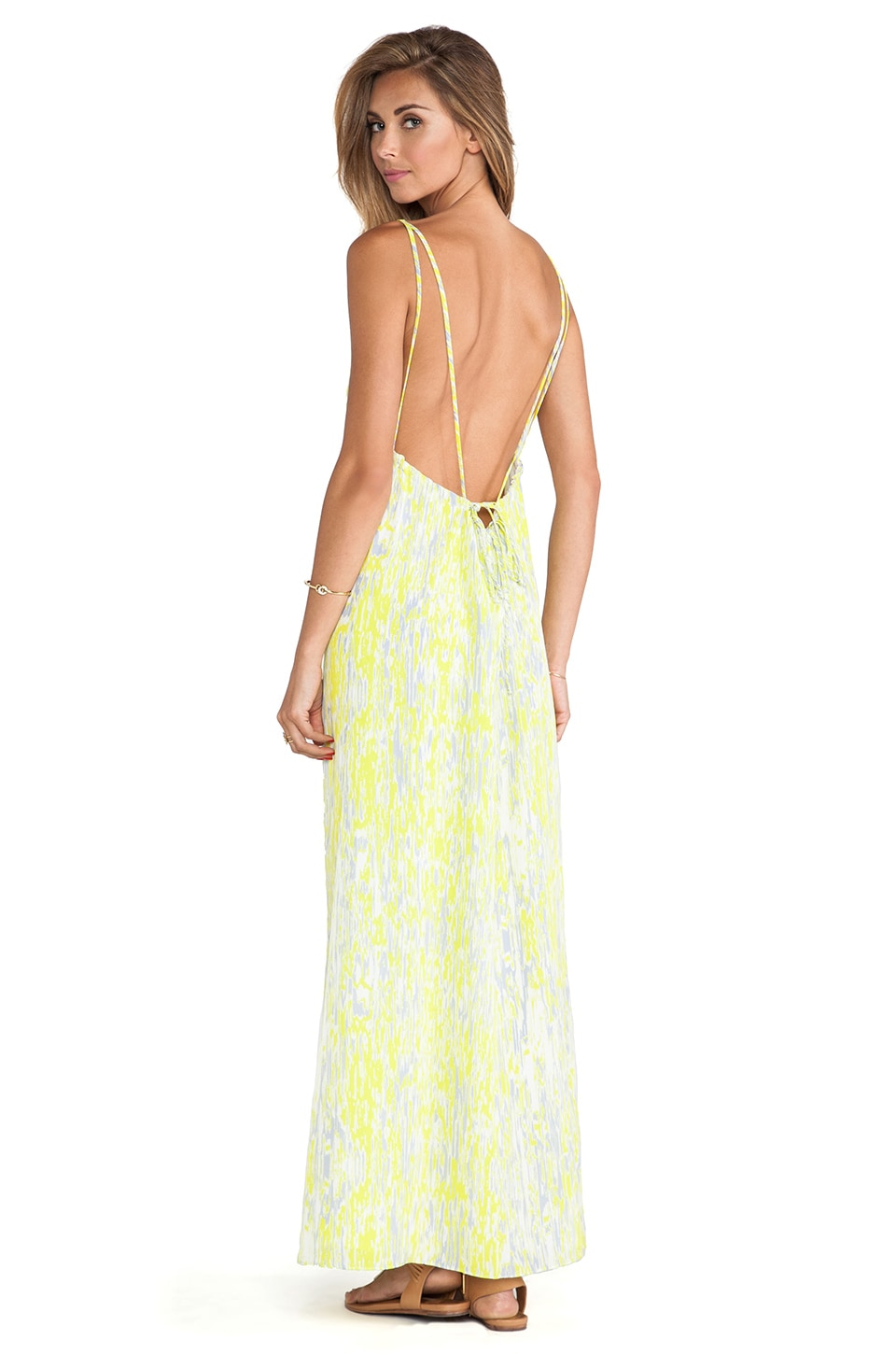 Lovers + Friends Golden Light Maxi Dress in Abstract Yellow