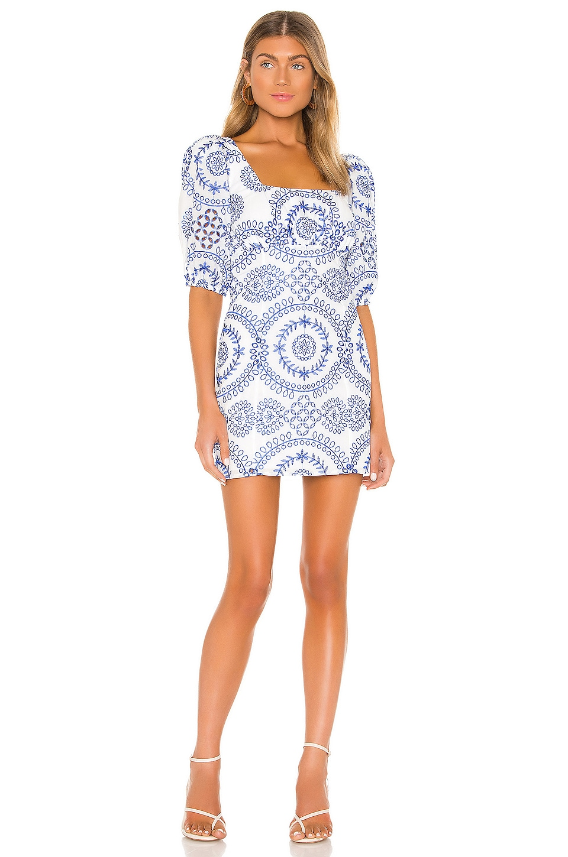 Lovers + Friends Barrington Mini Dress in White & Blue