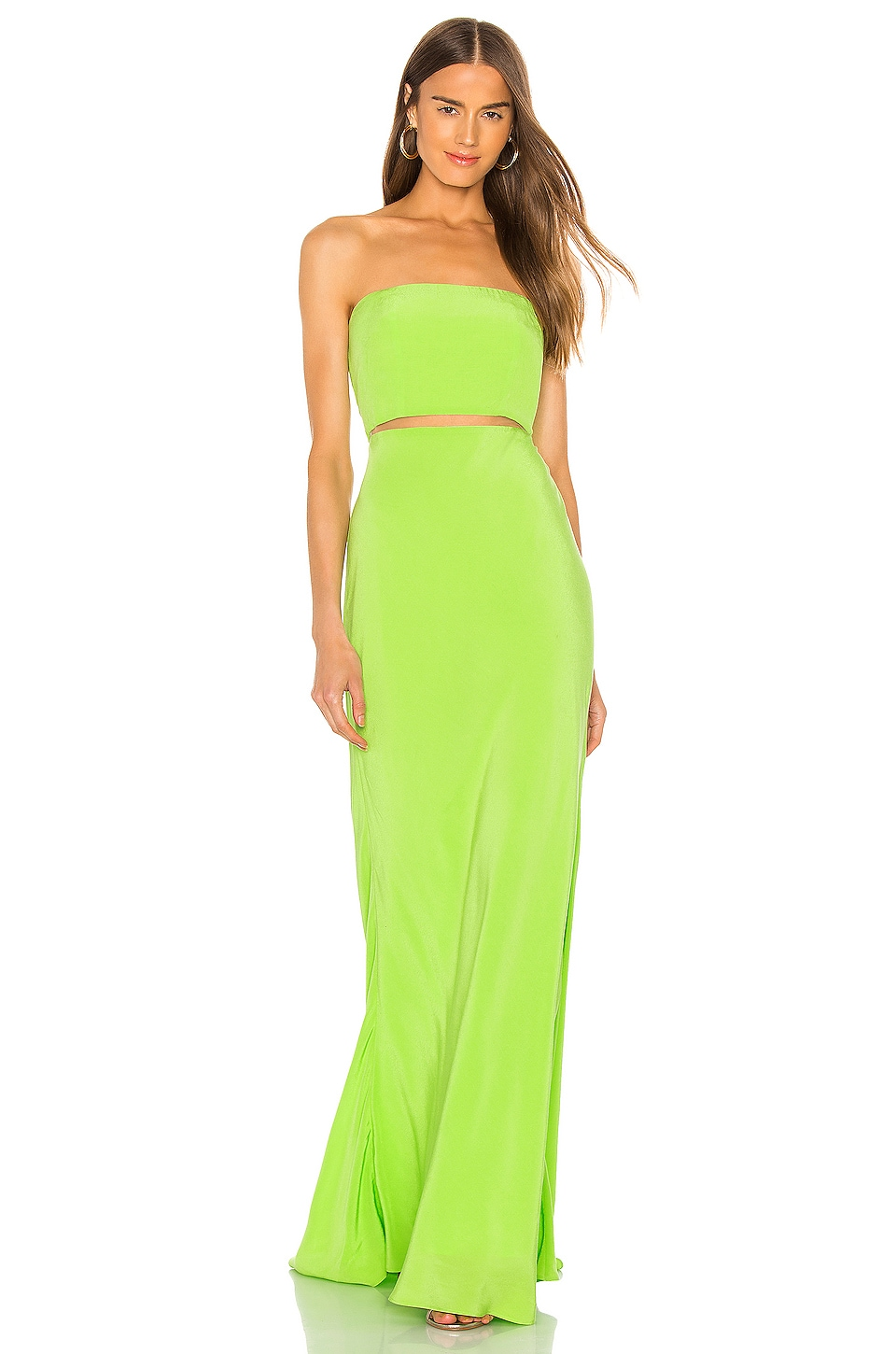 Lovers + Friends Pryce Gown in Neon Lime Green