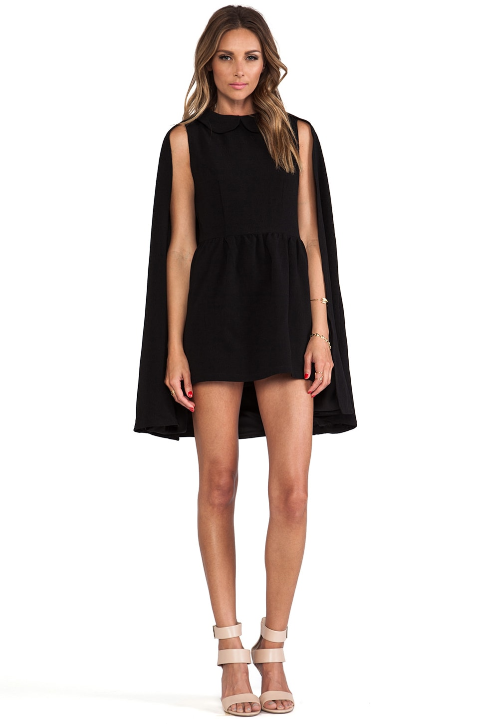 Lovers + Friends x Monica Rose Rhodes Dress & Cape in Black