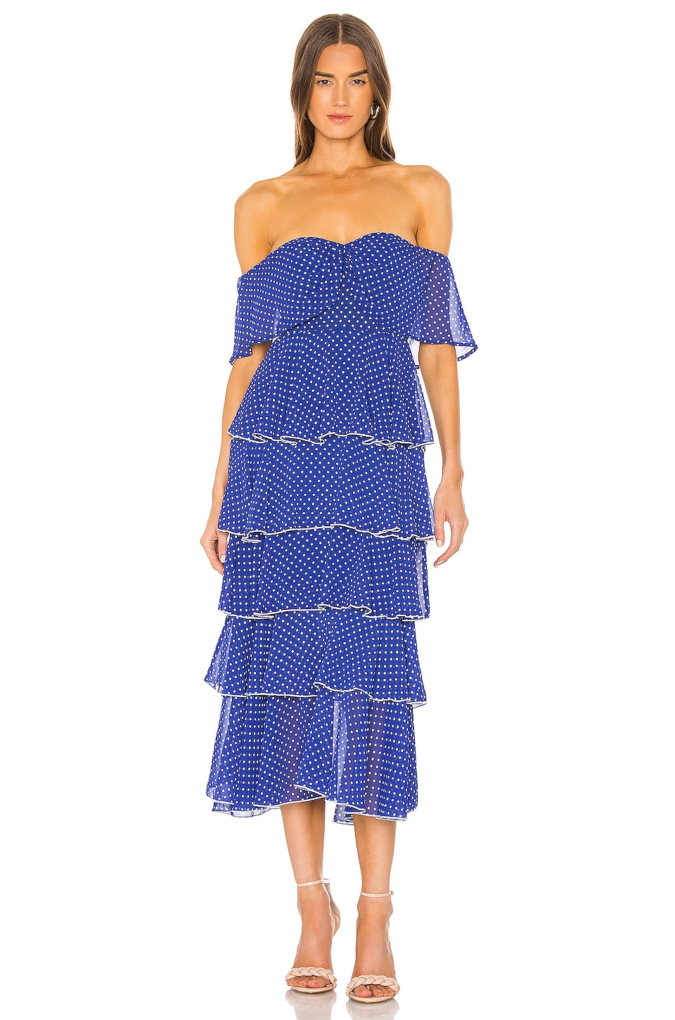 Lovers + Friends Highland Midi Dress in Navy Polka Dot