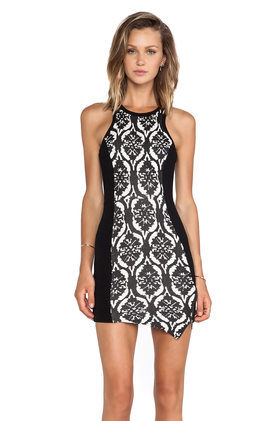 Lovers + Friends Simmer Body Con Dress in Black & White