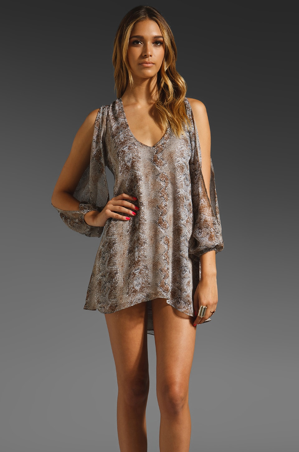 Lovers + Friends Gracie Babydoll Dress in Snakeskin