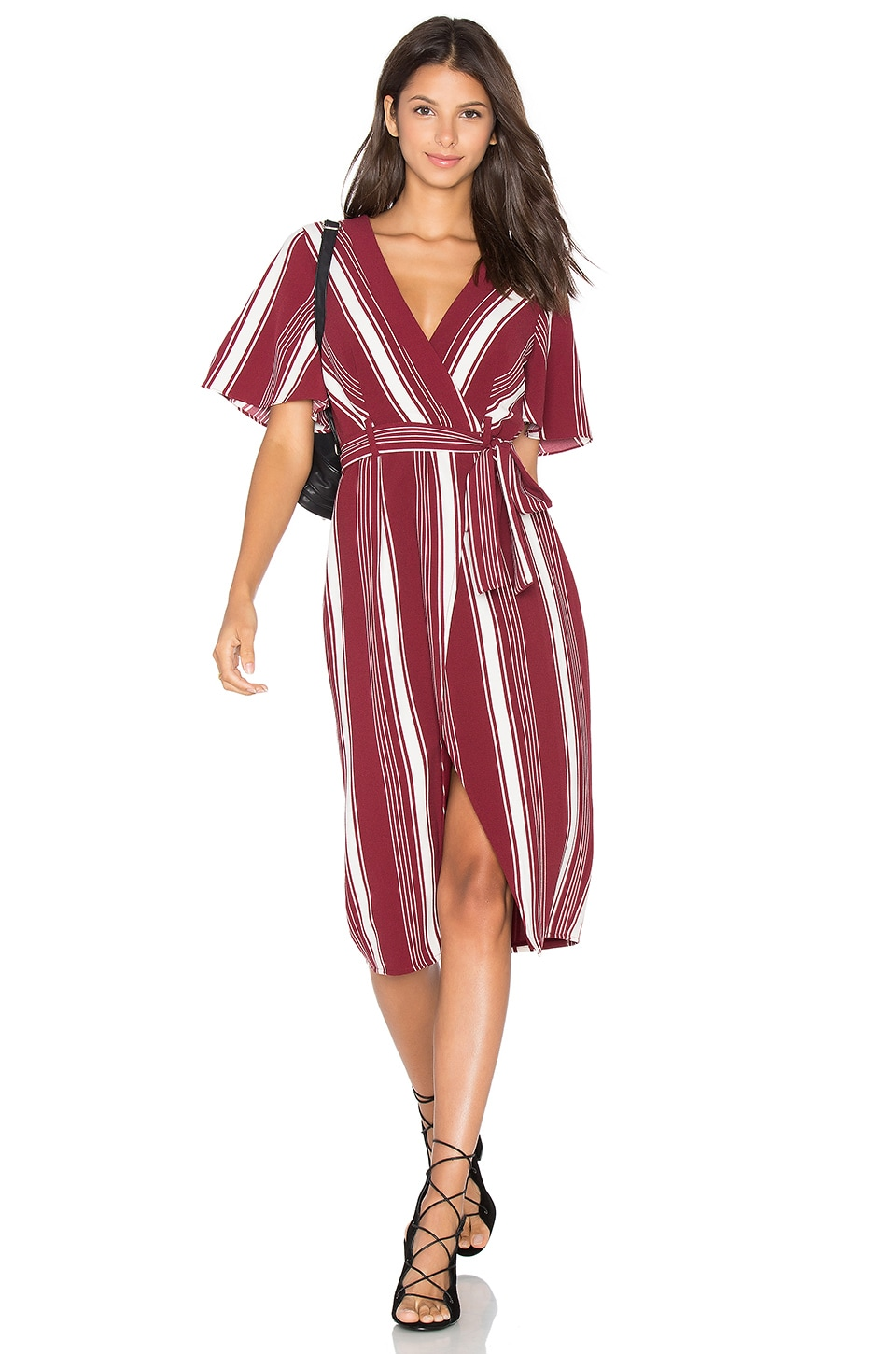 Lovers + Friends Fremont Wrap Dress in Cranberry Stripe