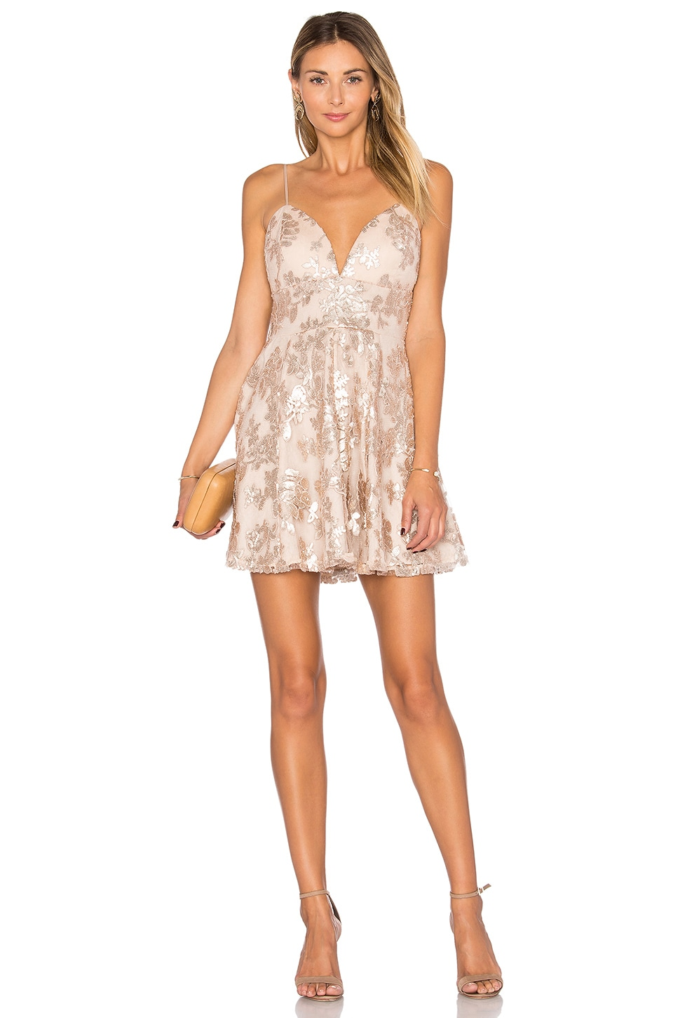 Lovers + Friends Girls Night Out Dress in Gold