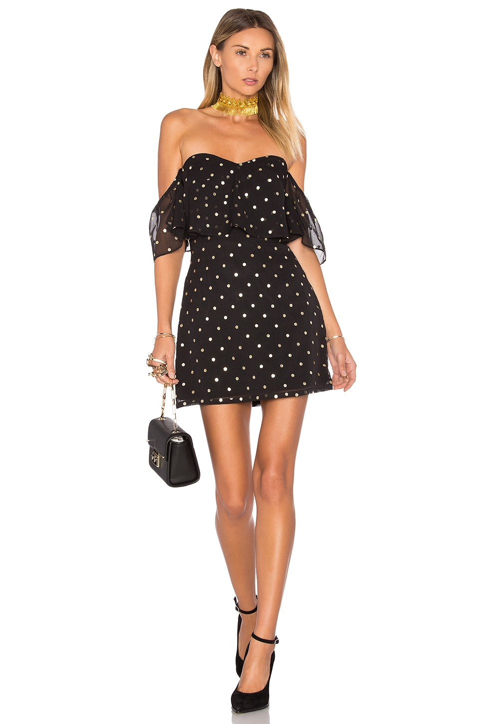 Lovers + Friends Lush Dress in Gold Dot