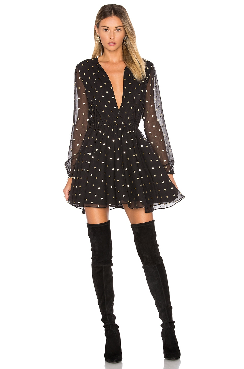 Lovers + Friends Hayley Dress in Gold Dot