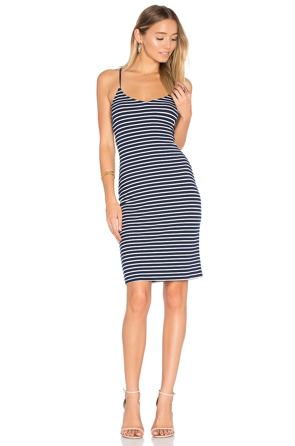 Lovers + Friends Skyfall Midi Dress in Navy Stripe