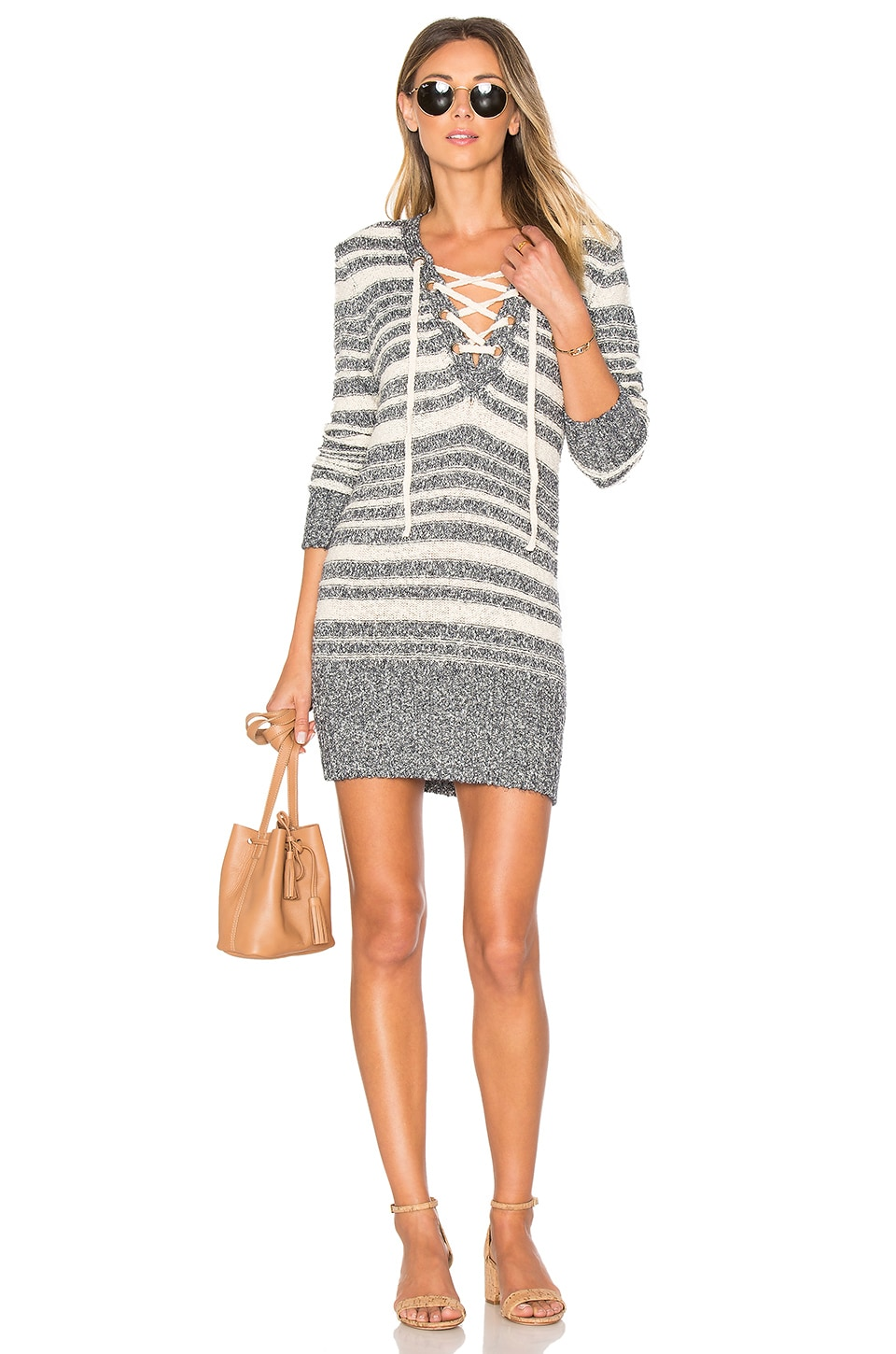 Lovers + Friends Simply Mine Sweater Dress in Navy Stripe