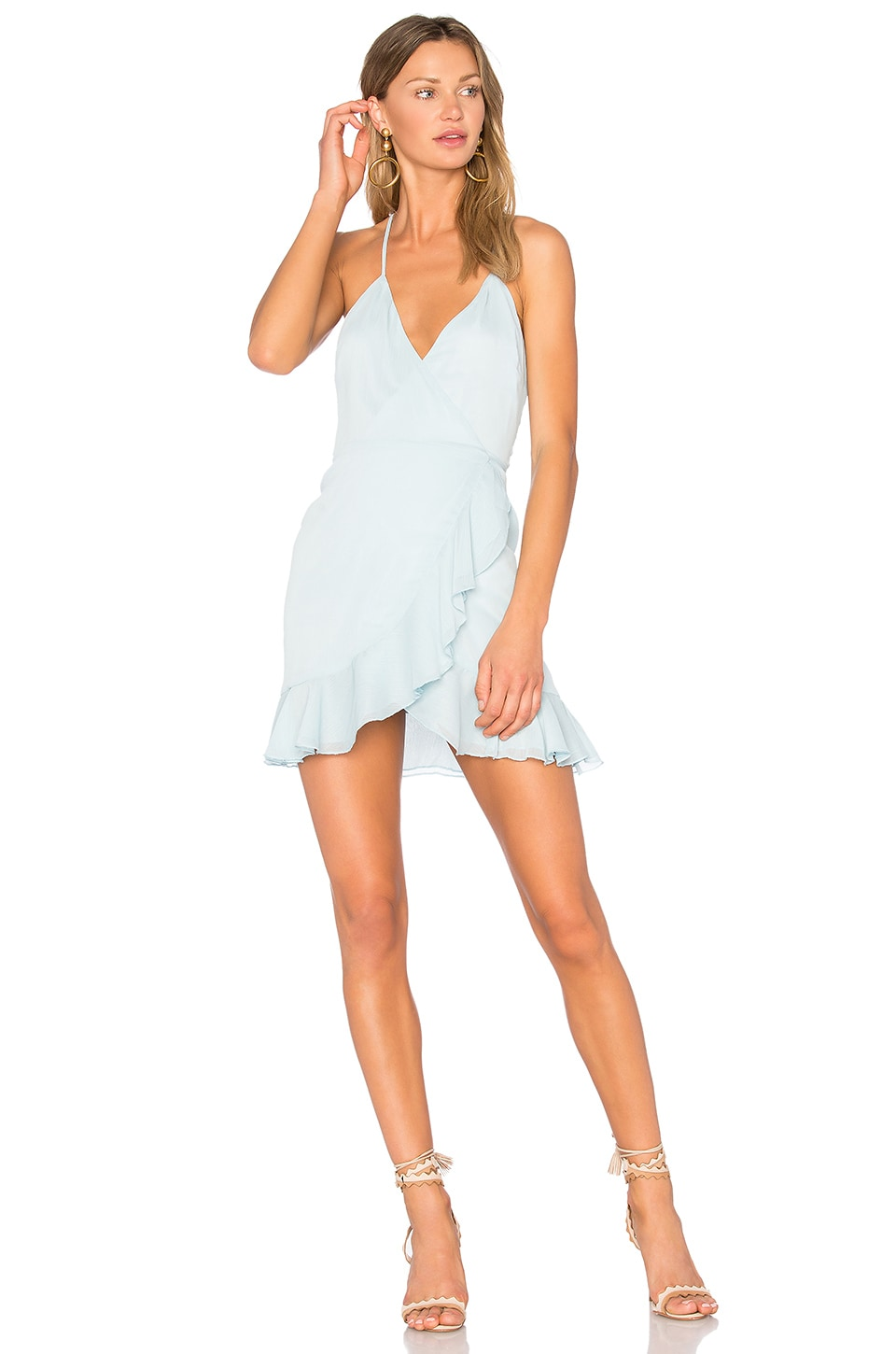 Lovers + Friends Gigi Wrap Dress in Sky
