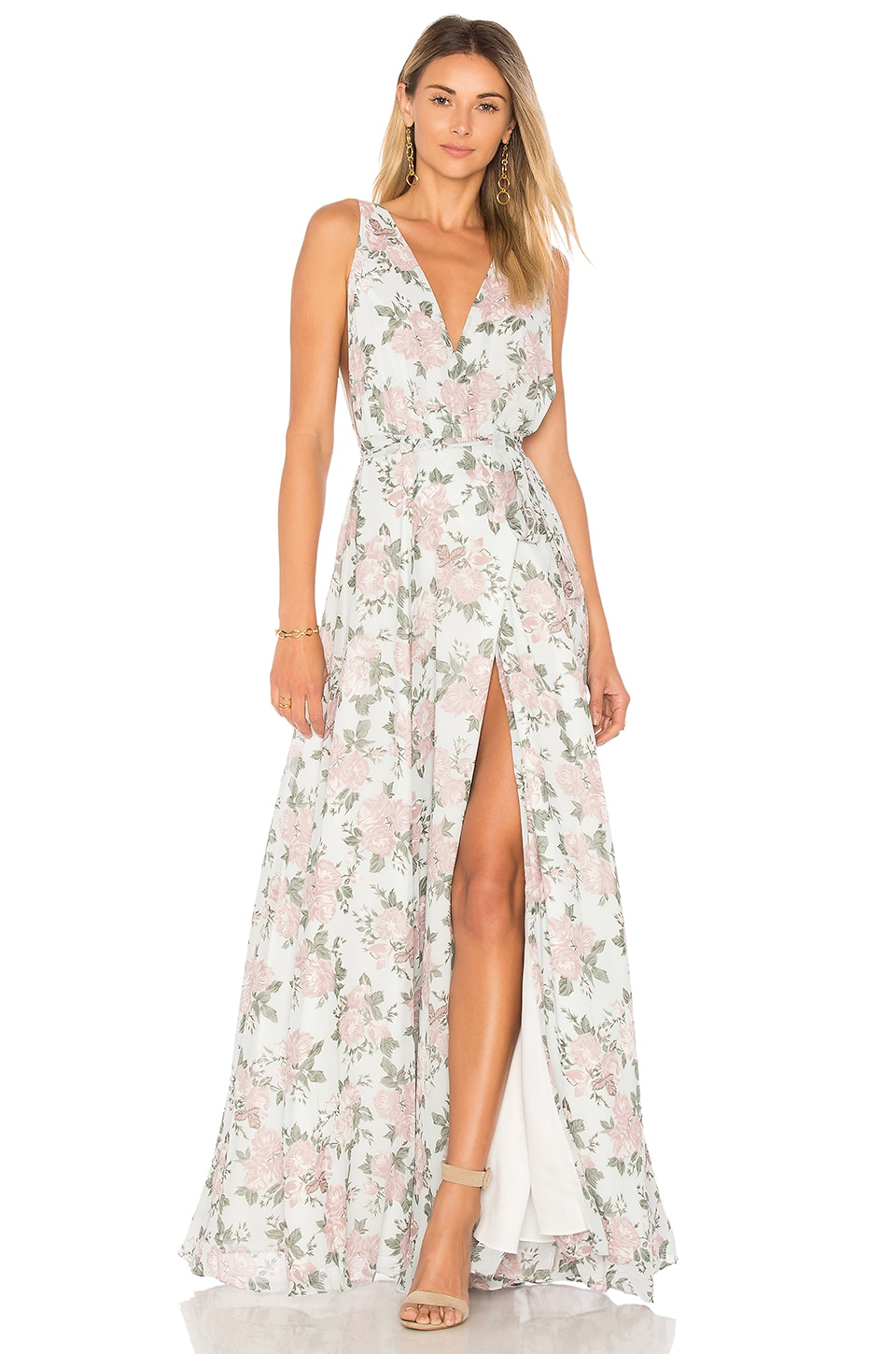 Lovers + Friends Leah Gown in Sea Foam Flore