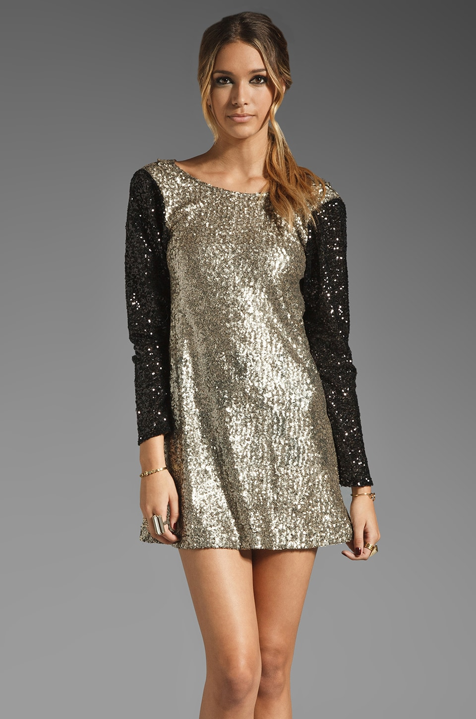 Lovers + Friends Bright Lights Mini Dress in Bronze/Black Sequin