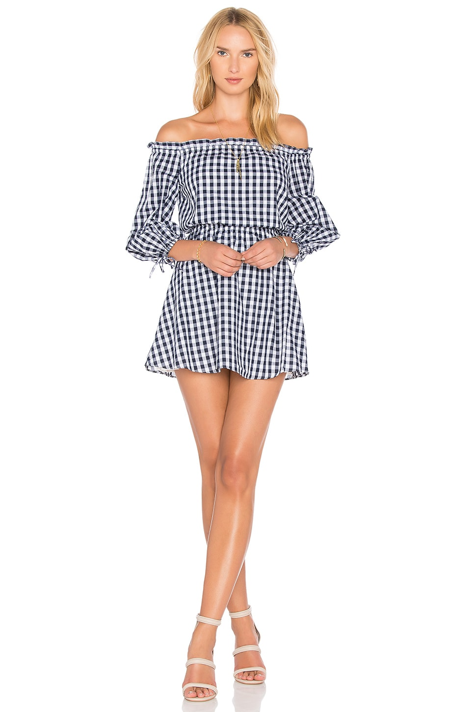 Lovers + Friends Get Lost Dress in Medium Blue Gingham