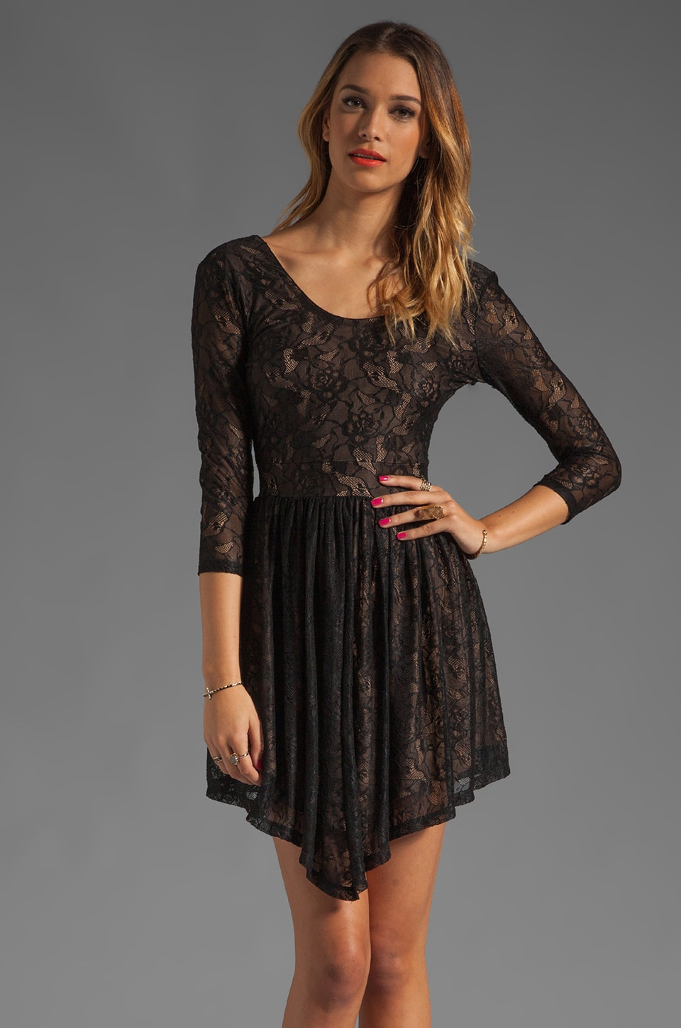 Lovers + Friends Senorita Mini Dress in Black Lace