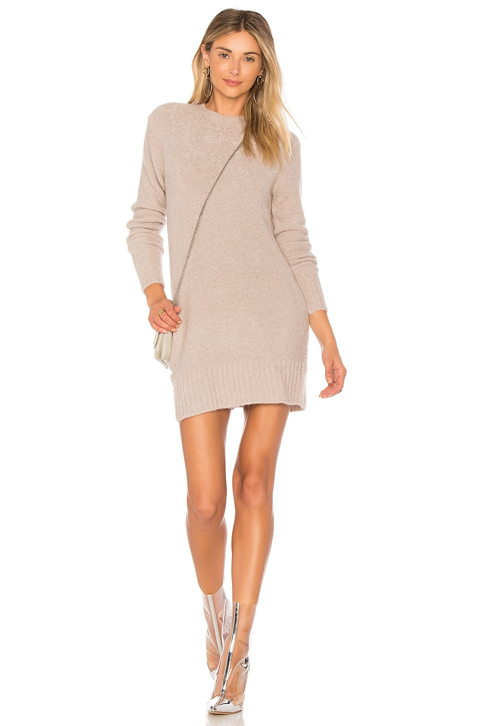 Lovers + Friends Ash Sweater Dress in Light Heather Grey