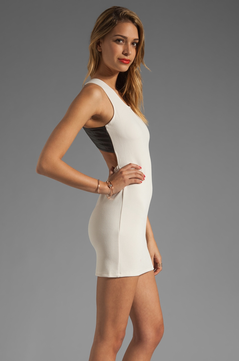Lovers + Friends Shooting Stars Dress in Cream/Black Faux Leather