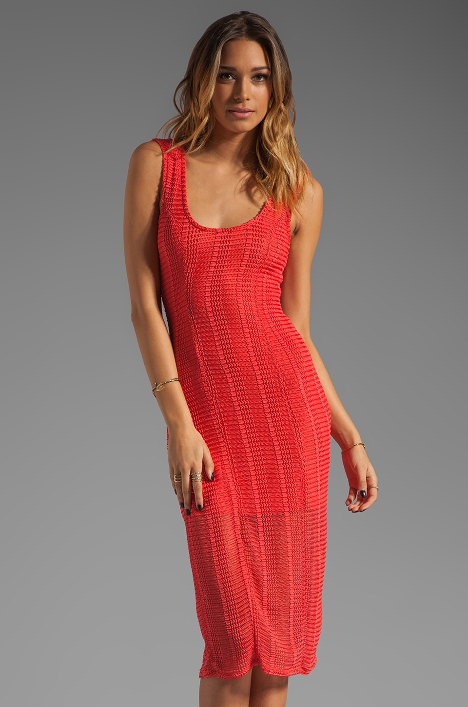 Lovers + Friends True Love Dress in Tangerine Stretch