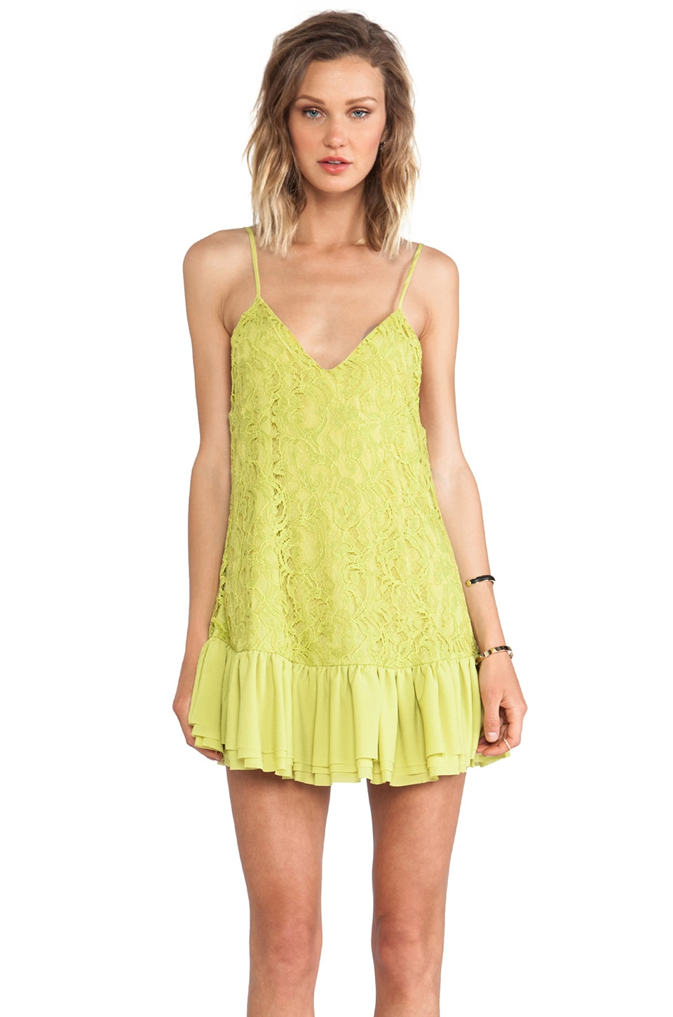 Lovers + Friends Sure Thing Dress in Citrus Lace