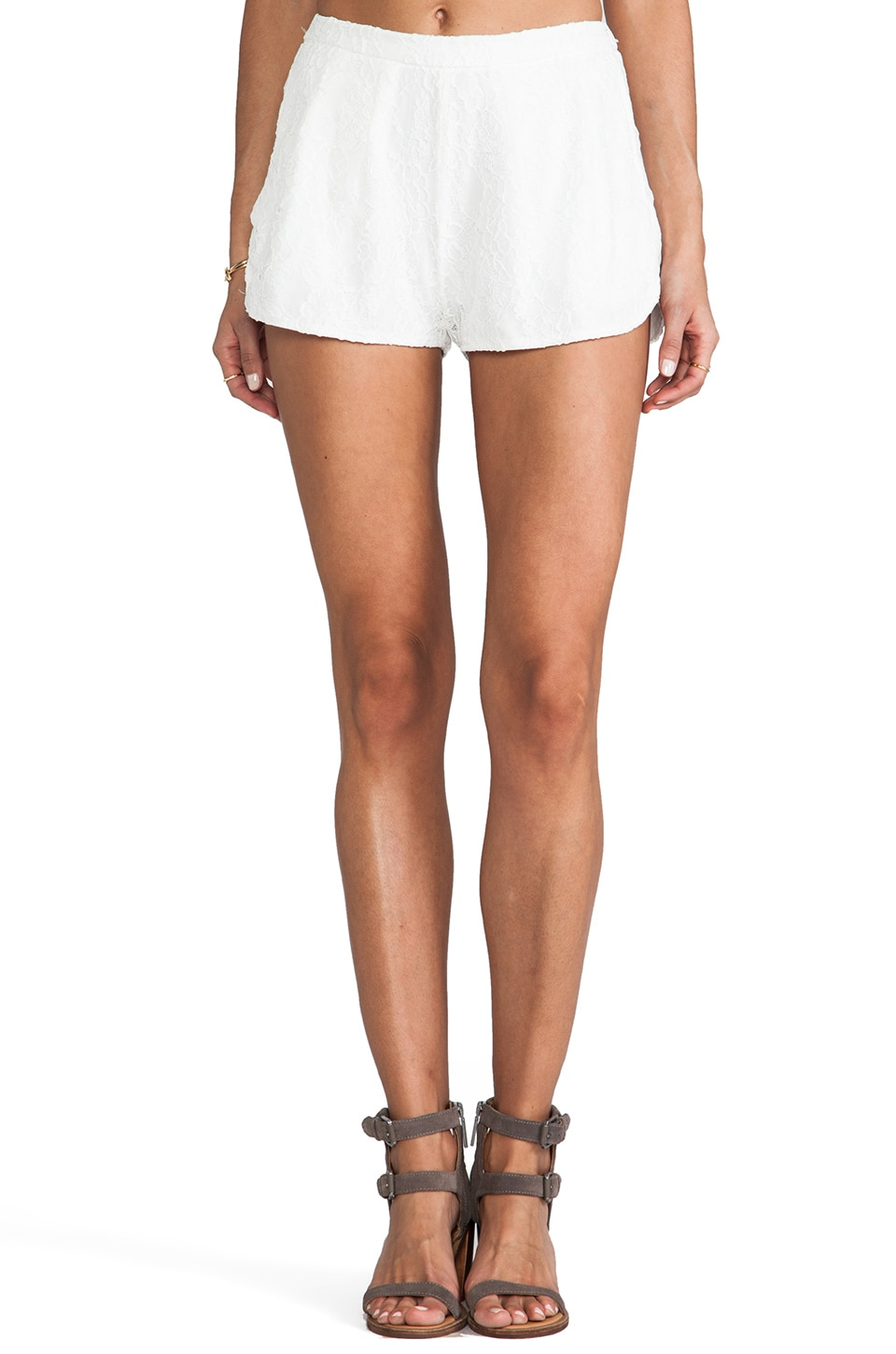 Lovers + Friends Wood Stock Lace Shorts in White