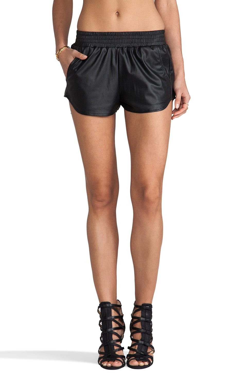 Lovers + Friends Vegan Leather Soccer Shorts in Black