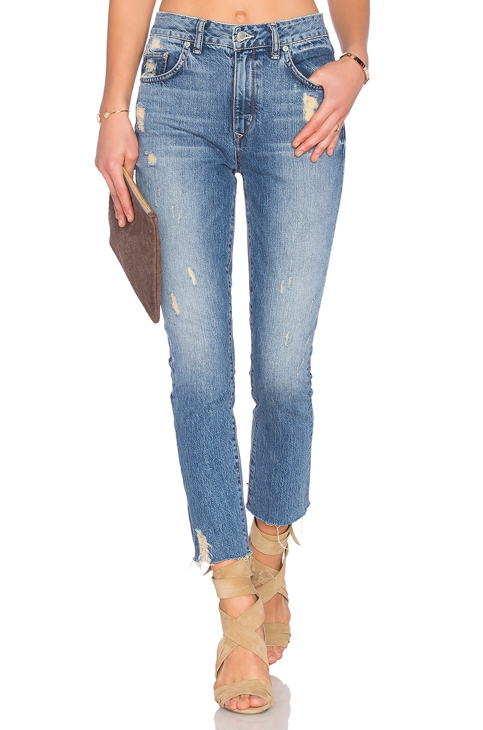 Lovers + Friends Logan High-Rise Tapered Jean in Rossmore