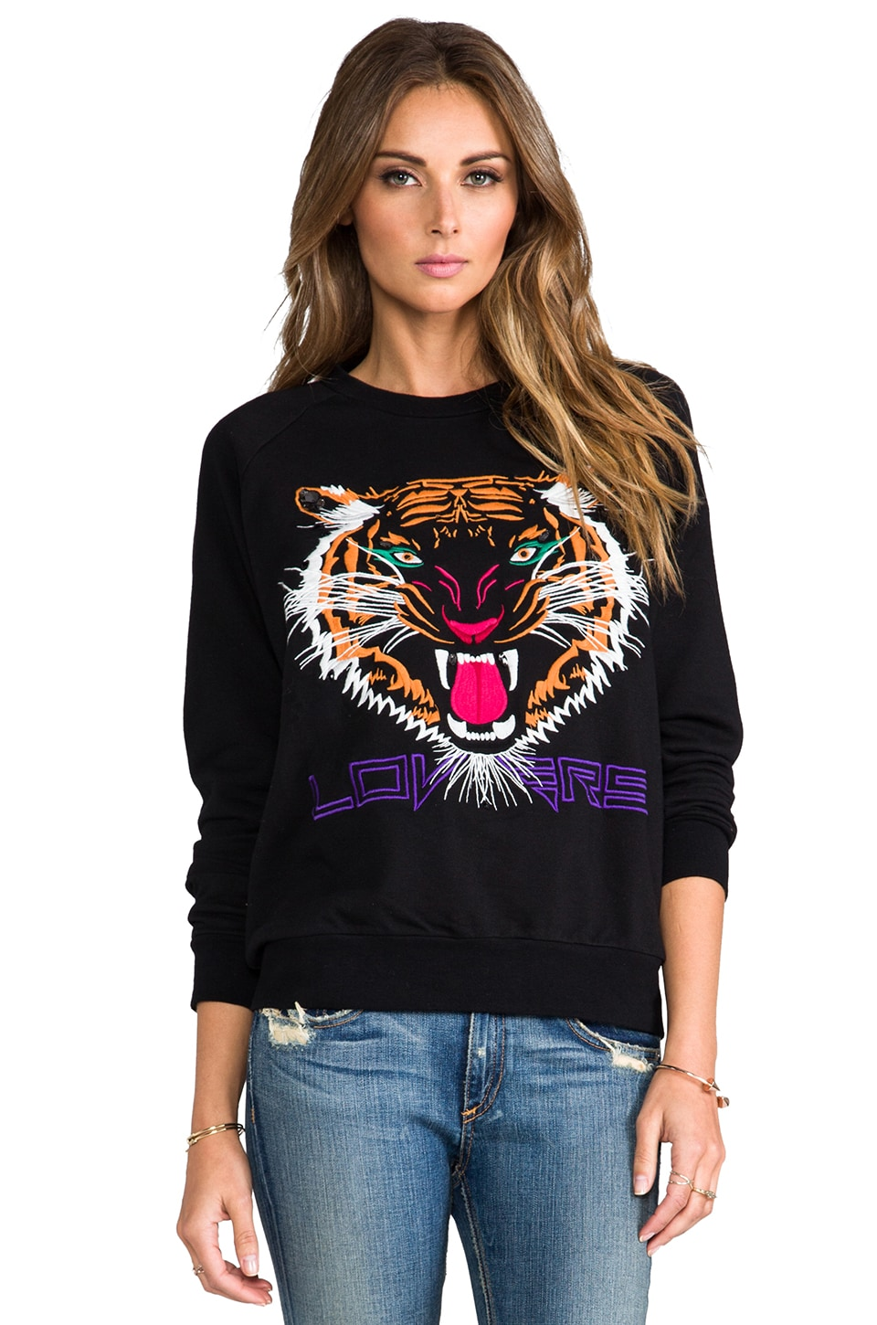 Lovers + Friends Laid Back Pullover in Black/Wildcat