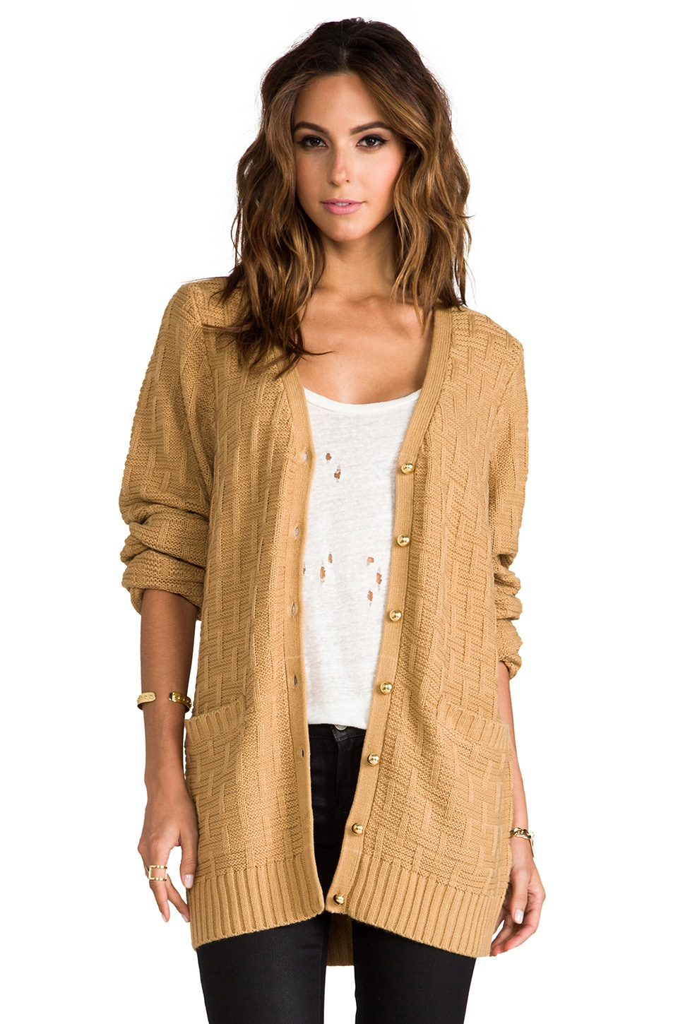 Lovers + Friends Be Better Cardigan in Rugby Tan