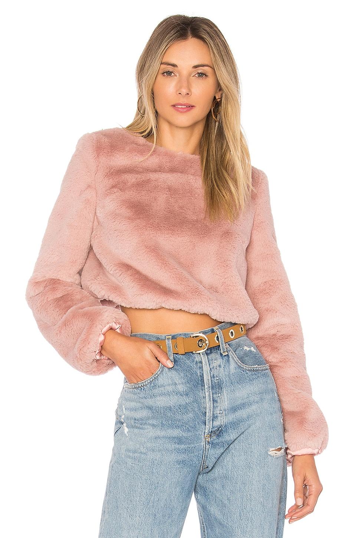 Lovers + Friends x REVOLVE Teagan Faux Fur Sweater in Rosehip