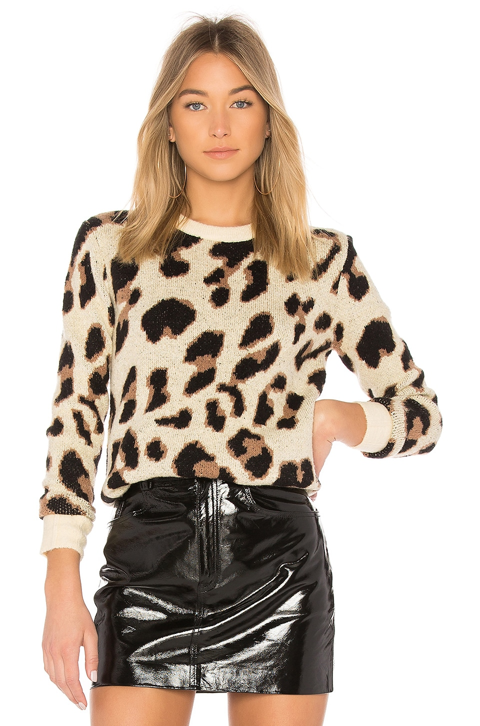 Lovers + Friends Speak Up Sweater in Metallic Leopard