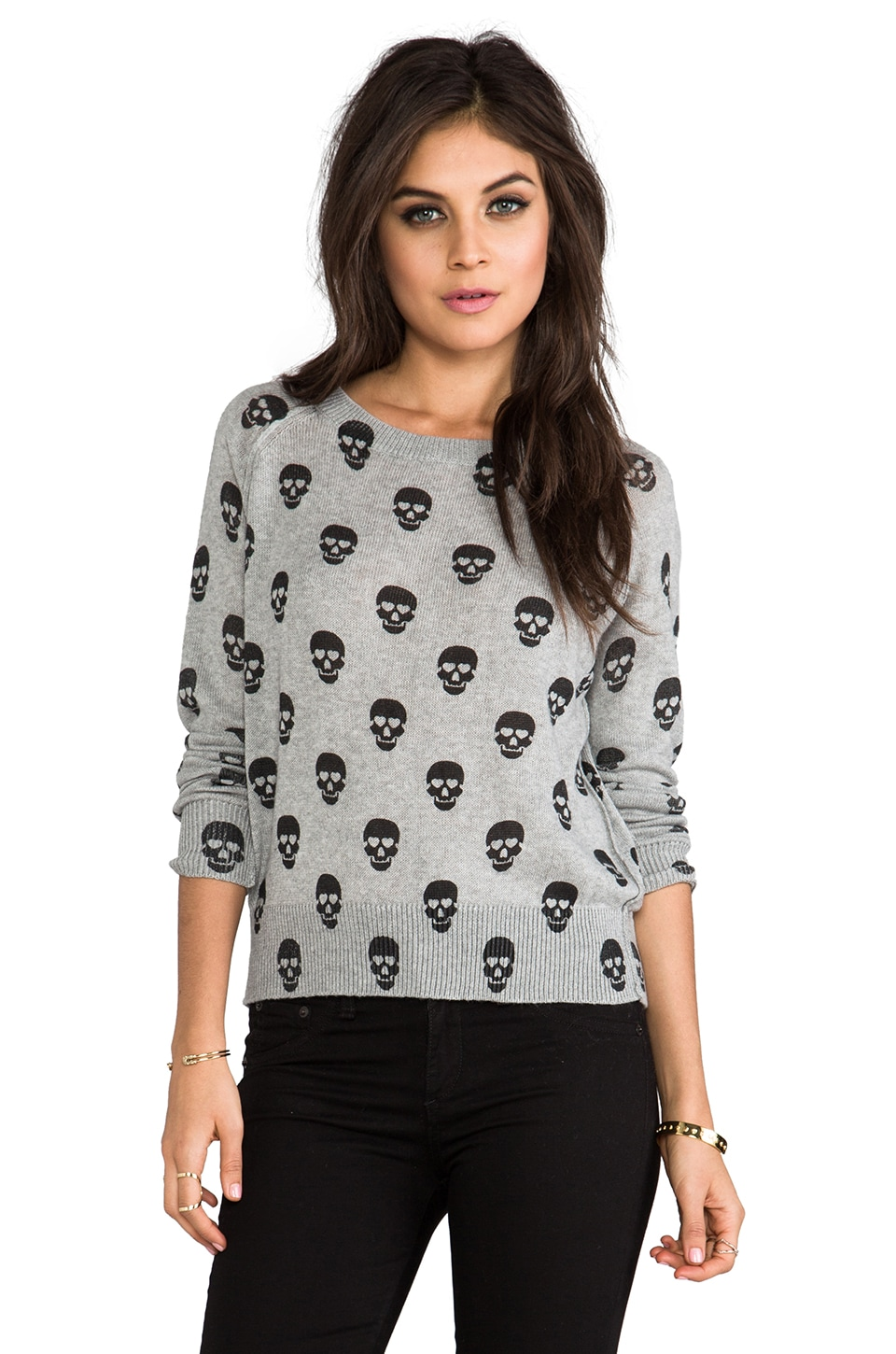 Lovers + Friends for REVOLVE Jordan Pullover in Heather Grey & Black Skulls