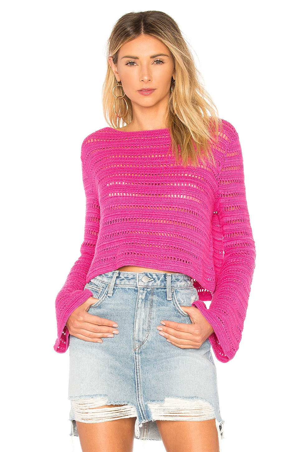 Lovers + Friends Amelia Sweater in Hot Pink