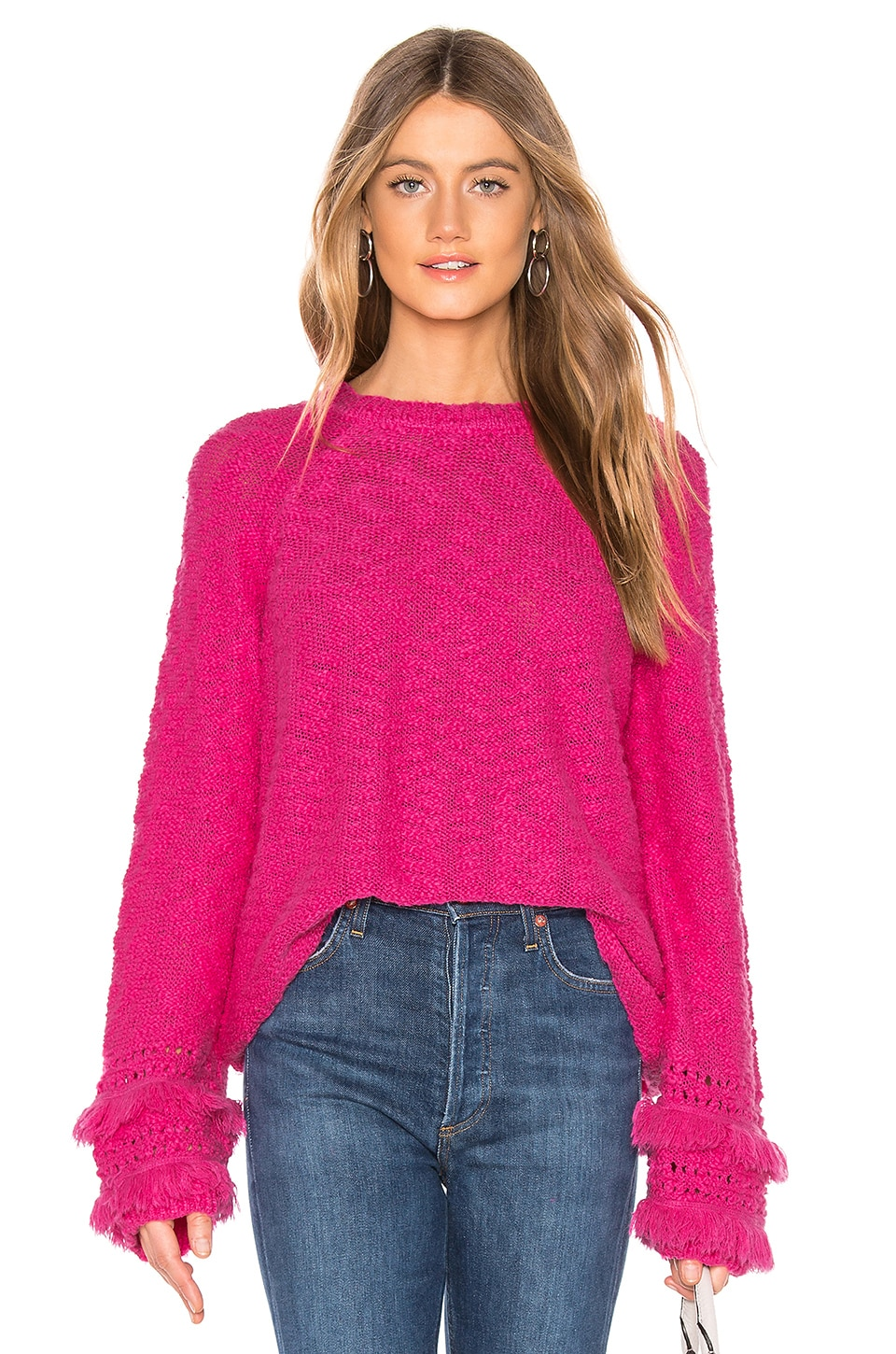 Lovers + Friends Friday Sweater in Hot Pink