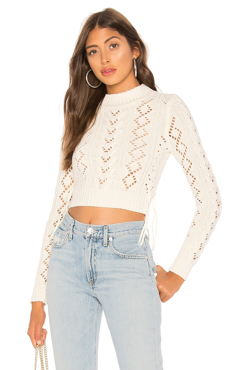 Lovers + Friends Lace Up Crop Sweater in Ivory