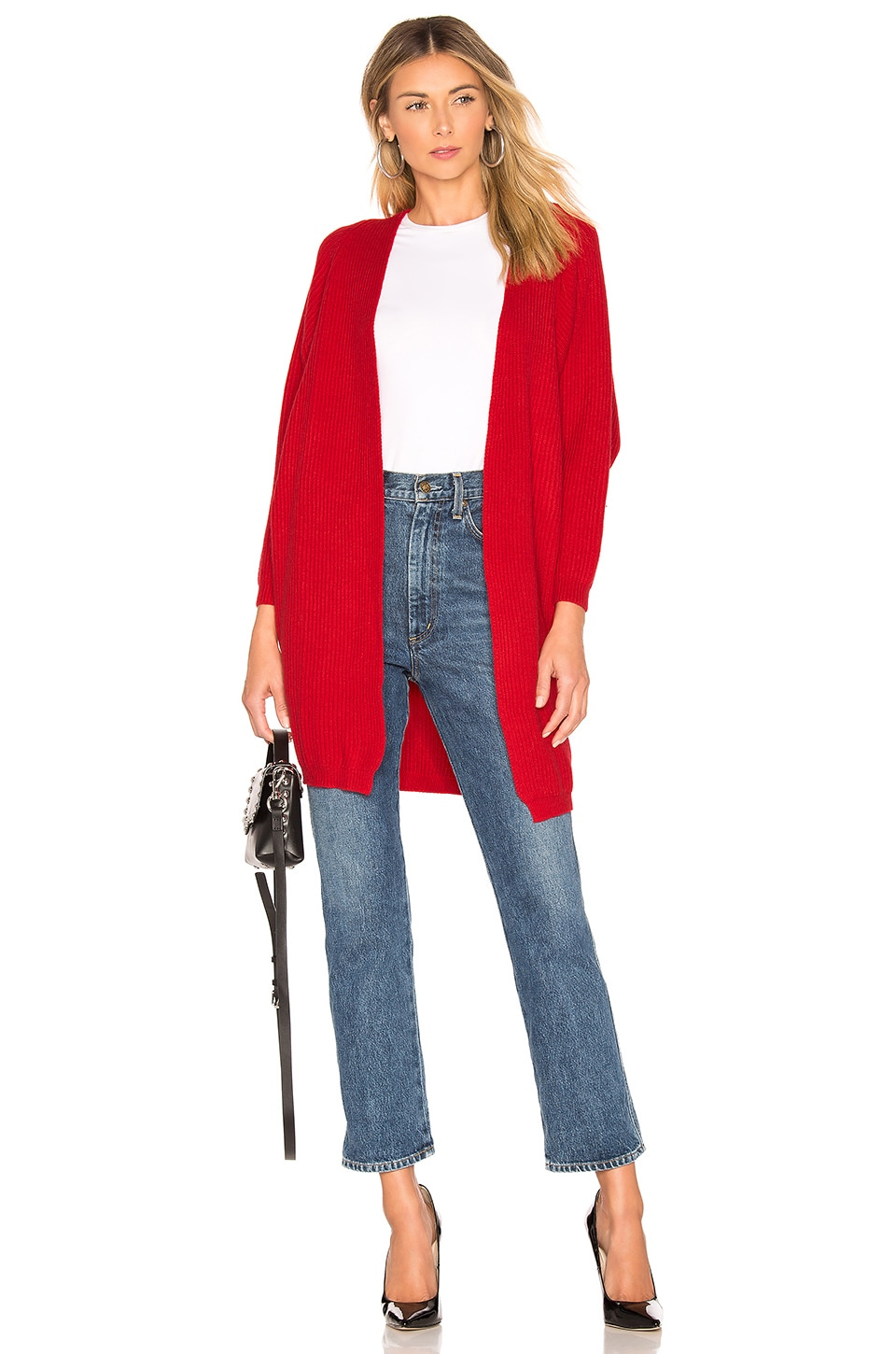 Lovers + Friends Ribbed Cardigan in Deep Red