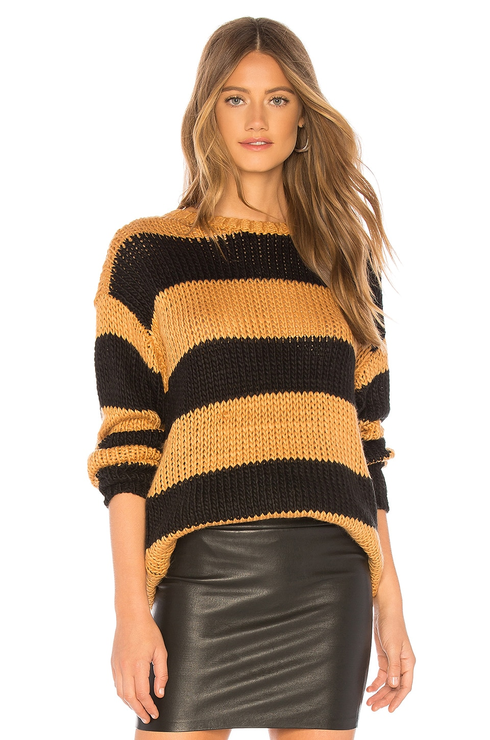 Lovers + Friends The Amber Sweater in Camel & Black Stripe