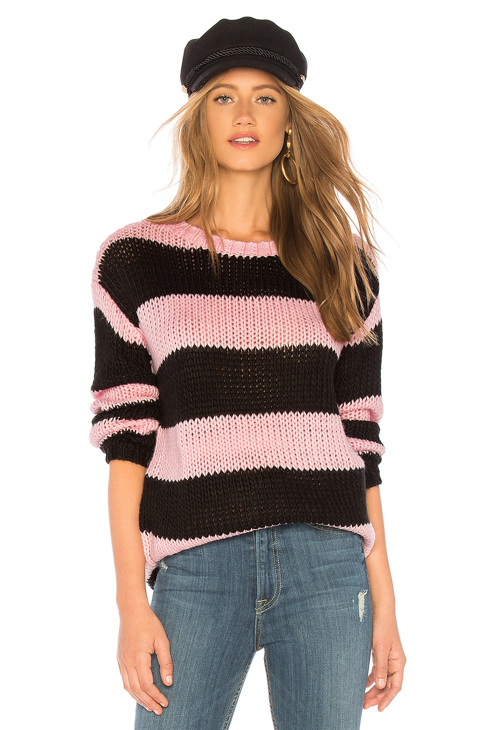 Lovers + Friends The Amber Sweater in Pink & Black Stripe