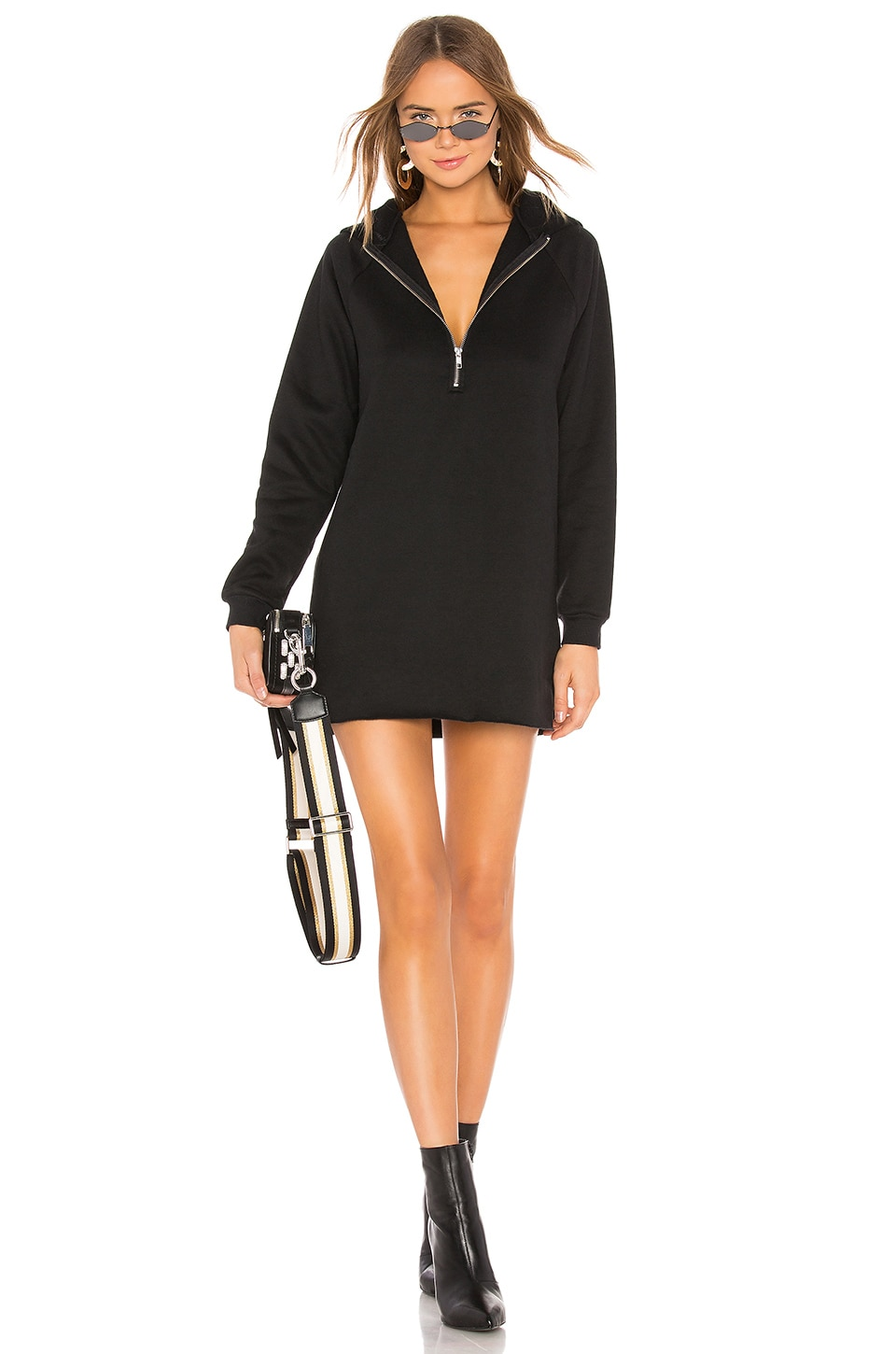 Lovers + Friends Izzy Zip Up Hoodie in Black