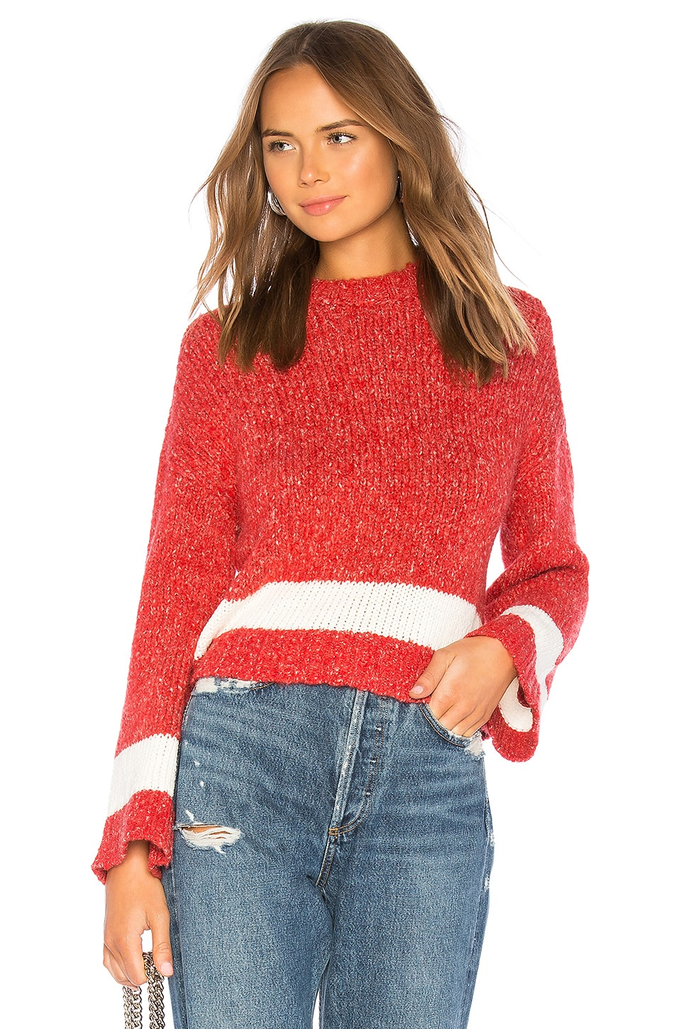 Lovers + Friends Kirkland Sweater in Red & White