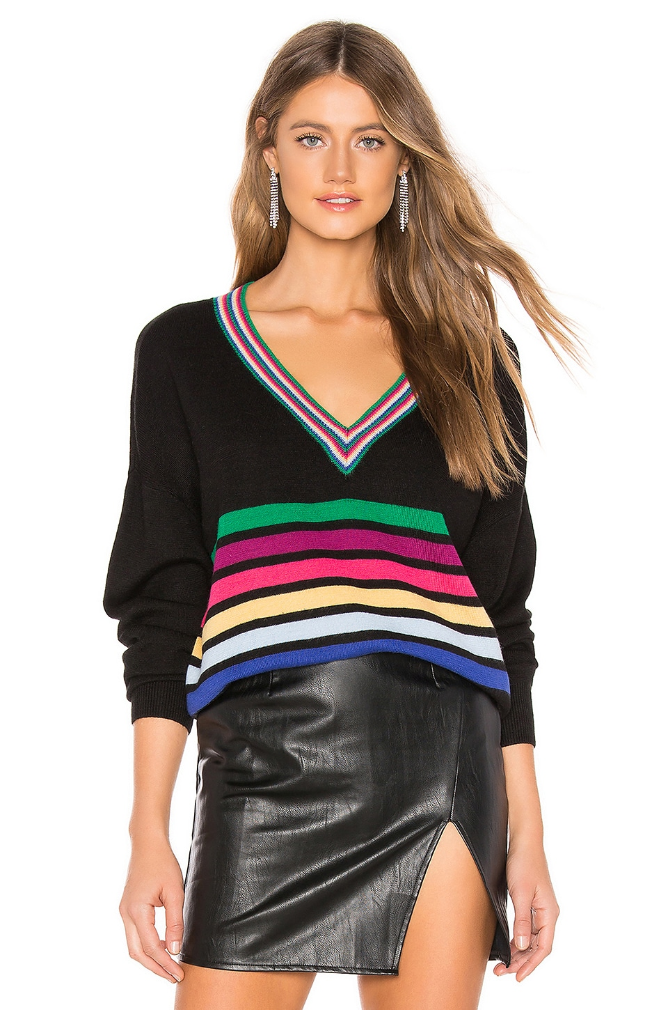 Lovers + Friends Explore Sweater in Rainbow Stripe