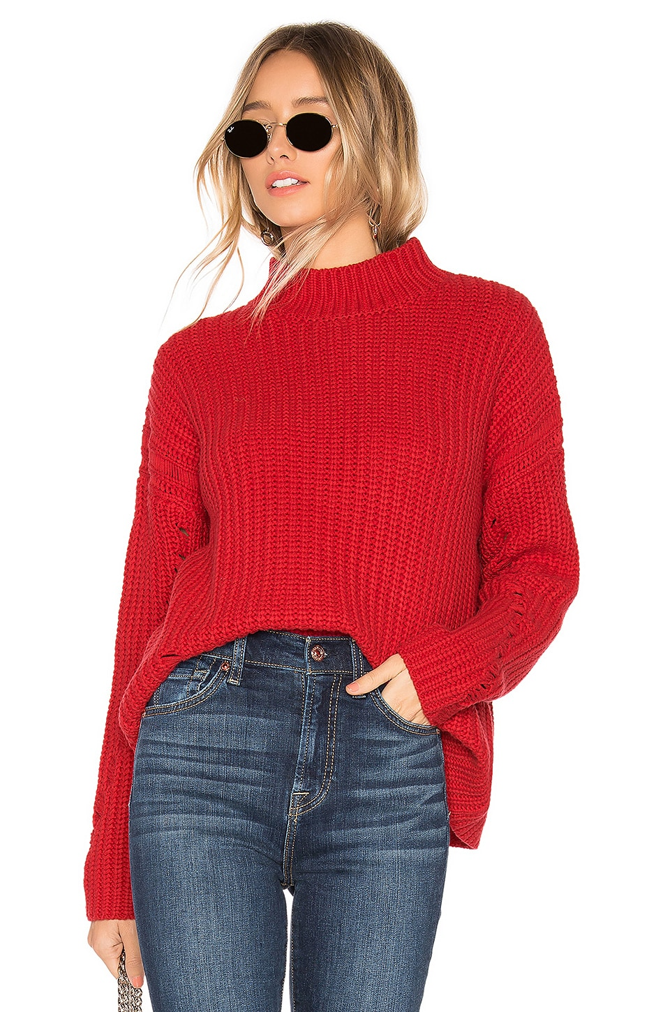 Lovers + Friends Clea Sweater in Bright Red