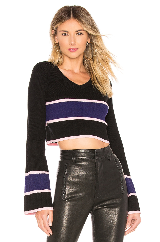 Lovers + Friends Team Cropped Sweater in Black Royal Stripe